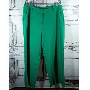 Lane Bryant Sz 18 Regular Green Wide Leg Trousers